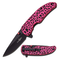 Femme Fatale Pink Cheetah Folding Knife with Pink Rhinestone