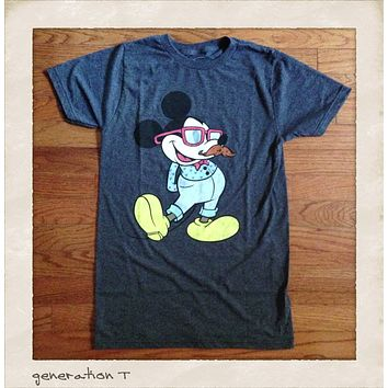 Vintage Inspired Disney Mickey Mouse Hipster Mens T-Shirt