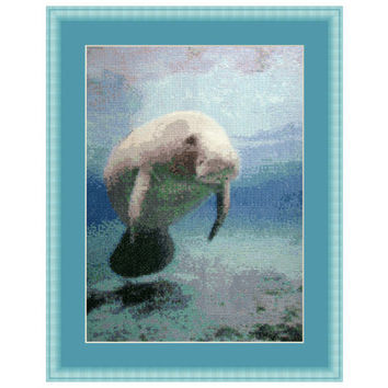 Cross Stitch Kit Manatee, Cow of the sea