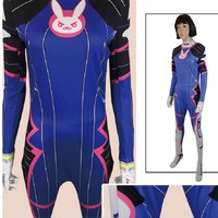 d.va dva d va costume cosplay suit bodysuit clothes wig clothing halloween jumpsuit Women Girl zentai kids child children anime
