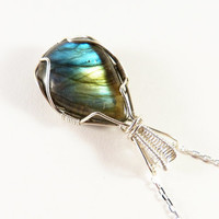 Labradorite silver necklace, natural wrapped jewelry, elegant necklace, healing stone, OOAK
