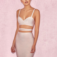 Clothing : Bandage Dresses : 'Lindi' Nude Wrap Waist Bandage Dress