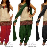 Lot of 3 Pieces Patiala Salwar With Dupatta Set For Best Matching Kurta Kurti
