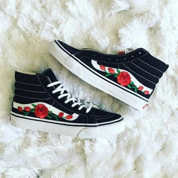 Vans Classics Sk8-HI Rose Embroidery Flats Sneakers Sport Shoes
