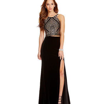 Jump Two-Piece Glitter Bodice Long Dress | Dillards