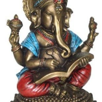 Ganesh Writing the Mahabharata Hindu Statue Bronze Blue and Red Finish 6.75H