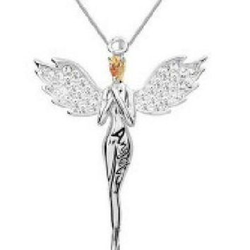 DCCKHY9 Charming necklace angel wing Pendant Necklace with full crystal jewelry for women multi colors  LM-N017