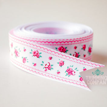 """1"""" inch Pink Lace Rose Grosgrain Ribbon - Polyester - Wholesale 5, 10, 25 yards you choose"""