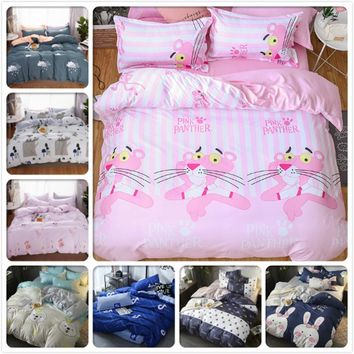 Pink White Girl Soft Cotton 3/4 pcs Bedding Set Adult Kids Bed Linen Single Twin Full Double Queen King SIze Duvet Cover 150x200