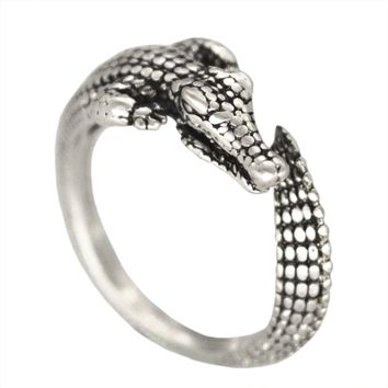 Kinitial 1Pcs Antique Silver Bronze Boho Chic Adjustable Wild Crocodile Alligator Ring Animal Encircle Ring Wedding Rings