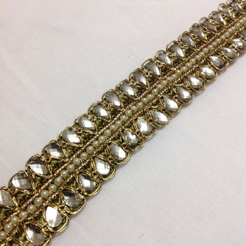 Olive and Gold Kundan Lace - Stone Work Border By Yard - Glass Bead Work Embellishment