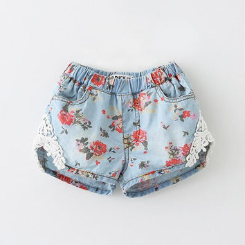603M1511 Kids Shorts Flower Lace Summer Baby Girls Fashion New Denim Cotton Clothes Children Clothing Casual Wear 6pcs/LOT