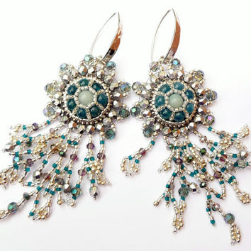 Amazonite & Blue Apatite Silver Branch Fringe Earrings - Bead Embroidered Gemstone Drop Earrings