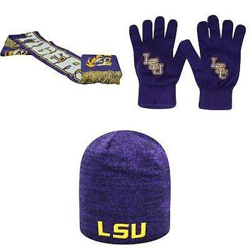 Licensed NCAA LSU Tigers Spirit Scarf TOW Knit Glove And Zero Beanie Hat 3 Pack 56156 KO_19_1