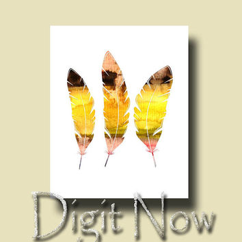 ON SALE Feather Silhouette Watercolor Print Nursery and Kids Room Decor Wall Art W014083