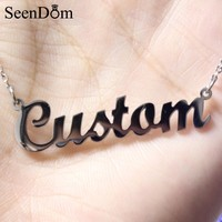 Custom Any Name Necklace Personalized Stainless Steel With Gold Color Customized Nameplate Pendant Choker Necklace (Never Fade)