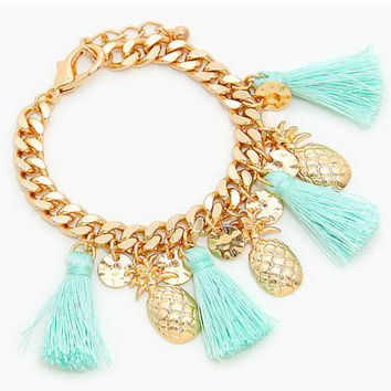 Gold & Mint Multi Tassel Pineapple Charm Bracelet