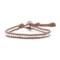Silver Stripe Leather Bracelet