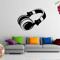 Vinyl Sticker Wall Art Decor Headphones Hip Hop Rock Pop Music Player Unique Gift EM022