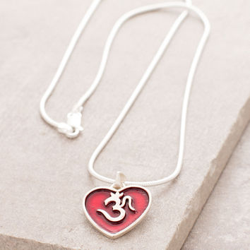 Silver OM Heart Necklace