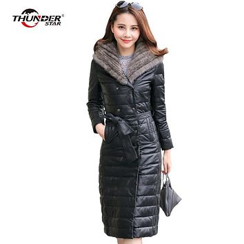 Winter women coat plus size 5XL faux mink fur collar outwear Pu leather jacket slim warm female hooded down cotton parka