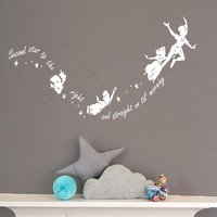 Kids Wall Sticker Cartoon Character Peter Pan And Fairies Baby Room Decal Decor