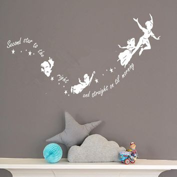 Kids Wall Sticker Cartoon Character Peter Pan And Fairies Baby R