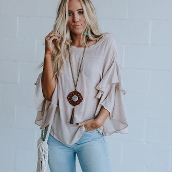 Whitney Double Ruffle Sleeve Blouse - Cream