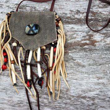 Olive Grey Nubuck Leather, Labradorite, Male Huayruros Seeds, Wisteria Seeds, Buffalo Bone Beaded Medicine Bag Pouch Necklace