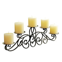 Iron Table Desk Top Candle Holder (Pyramid Layout Holds 5 Pillar Candles)