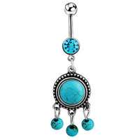 Turquoise Charms Belly Button Ring