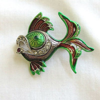 Vintage Green and Maroon Guilloche Enamel & Rhinestones Fish Brooch made in Czechoslovakia