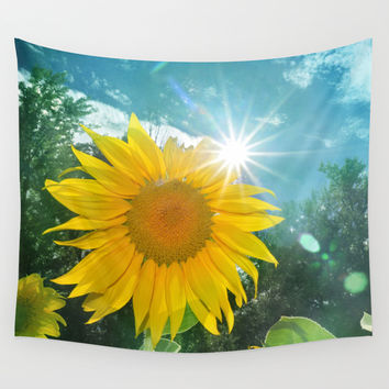 Sunflower. Vintage Wall Tapestry by Guido Montañés