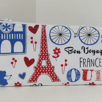 Zip Pouch-Pencil pouch- Cosmetics pouch- made by me using Paris fabric