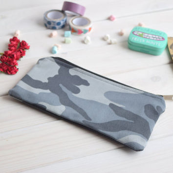 Military pencil case with zipper, Pencil Pouch, Cosmetic small pouch, Make Up Pouch, Charger bag, Project bag, Bridesmaid gift, Bridal purse
