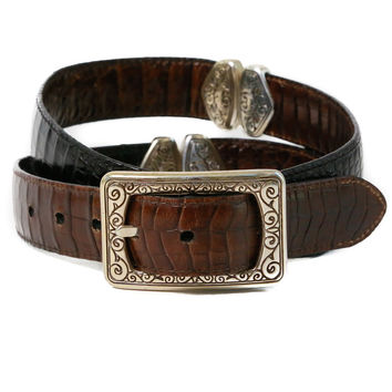 Reversible Stamped Leather Belt - Vintage