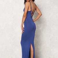 Dusty Blue Jersey Knit Slit Cami Maxi Dress