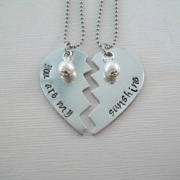 Custom aluminum broken heart necklace set hand stamped you are my, sunshine swarovski pearl stainless steel chain