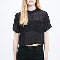 Cooperative Check Funnel Neck Blouse in Black - Urban Outfitters