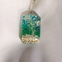 Unique Landscape Resin Pendant.  Flower Resin Necklace.  Resin Jewelry.