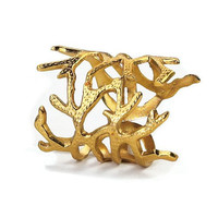 Gold Coral Napkin Rings - Set of 4