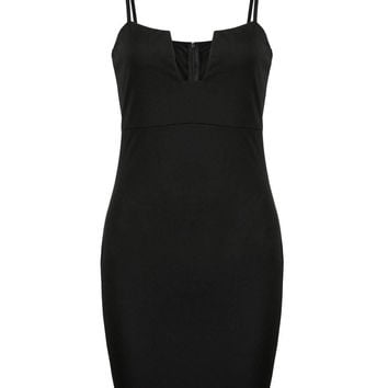 Black Bodycon Dress with Spaghetti Straps
