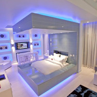 White Apartment with a Variety of Beautiful Blue Light : DesignInteriorArt.com