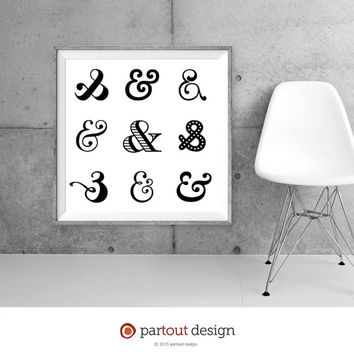 Printable Art Ampersand art prints Zen Art Home Decor Modernist Wall Art Minimal Art Print Instant downloadable art black & white art prints