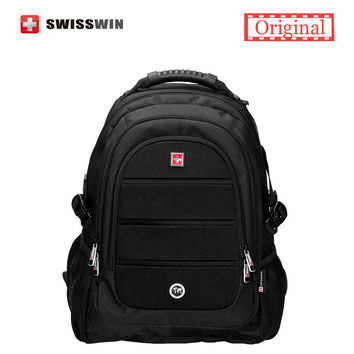 "Swisswin Black Business Backpack Male Swiss Military 15.6"" Computer Bag Mochila masculino Orthopedic Backpack sac a dos"