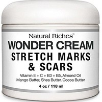Stretch Marks & Scar Removal Cream from Natural Riches - 4 oz - 100% Natural, Reduces the Appearances of Keloids,...