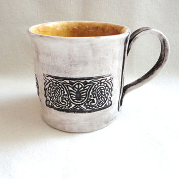 Large Ceramic Mug, Coffee Cup, Fancy Mug, Tulip Design, Sun Yellow, Cottage Art, Hand Built from Scratch