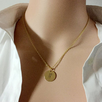 SALE! Gold Drop Necklace, Monogram Necklace, Gold Round Disc, Bridesmaids Personalized Necklace, Friendship Necklace,Gold Disc, pendant gift