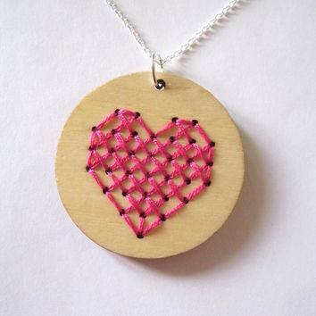Cross Stitch Heart Necklace pink Embroidery silver mothers day mum mummy