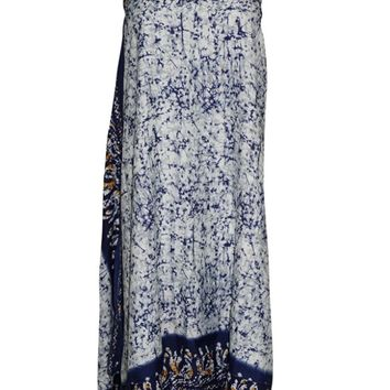 Women's Magic Wrap Skirt Blue Premium Silk Sari Reversible Skirts,Gift For Her